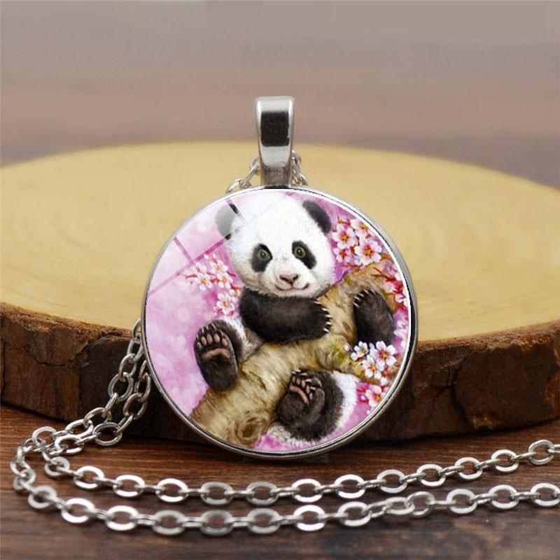Collar de cabujón de cristal de dibujos animados, cadena con patrón de Panda, Gargantilla con colgante largo, collar para regalo Unisex, joyería