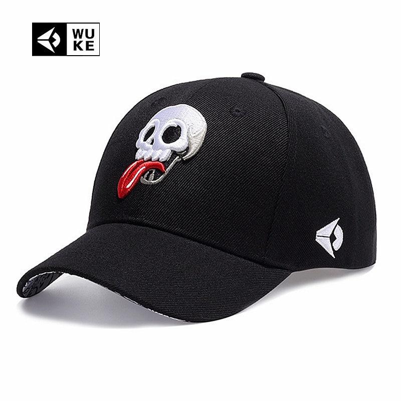[WUKE] Branded Baseball Cap Men's Women's Spring Summer Hat Embroidery Hip Hop Skeleton Skull Styling Bone Fashion Caps Adjust