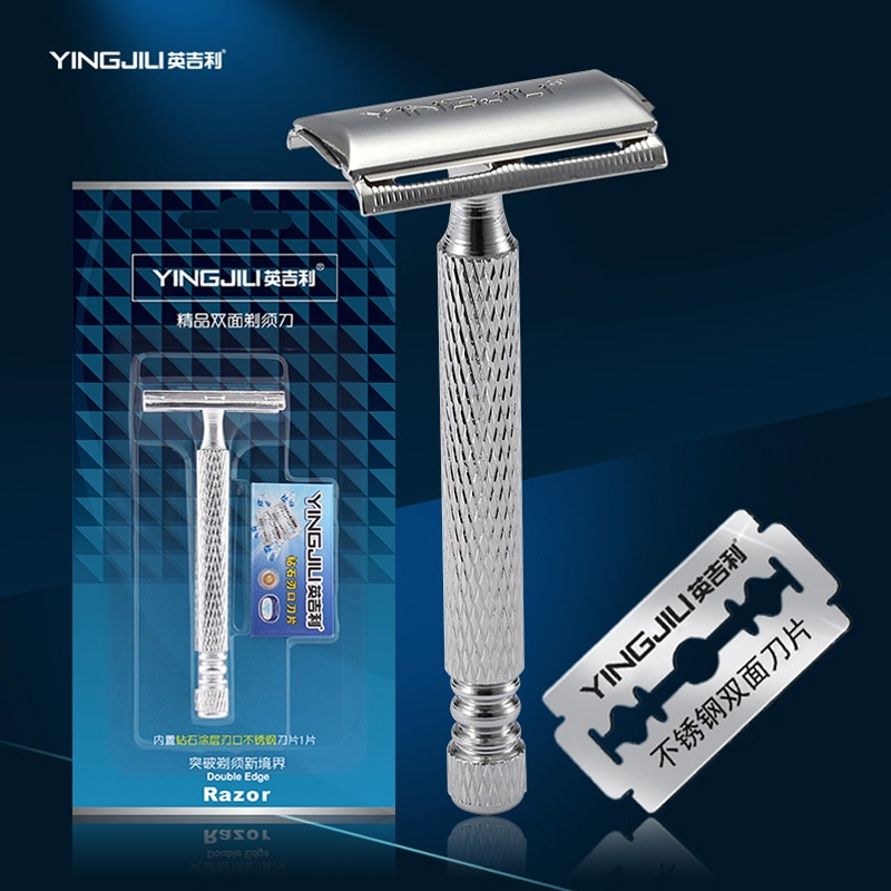 YingJiLi Double Edged Razor Blade Shaving Razor Classic Safty Razor For Mens shaving Two-sided Metal Aluminum Alloy Nice Cutting