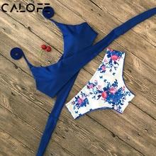 Halter Swimwear Bikini 2020 Thong Bikini Blue Set Women Bikini Brazilian Swimwear female Biquinis Push Up Swimsuit