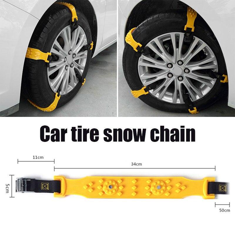 Vehemo Yellow TPU Anti-Skid Chains Snow Chain Accessories Thickened Climbing Mud Ground Easy Installation Snow Tire Belt