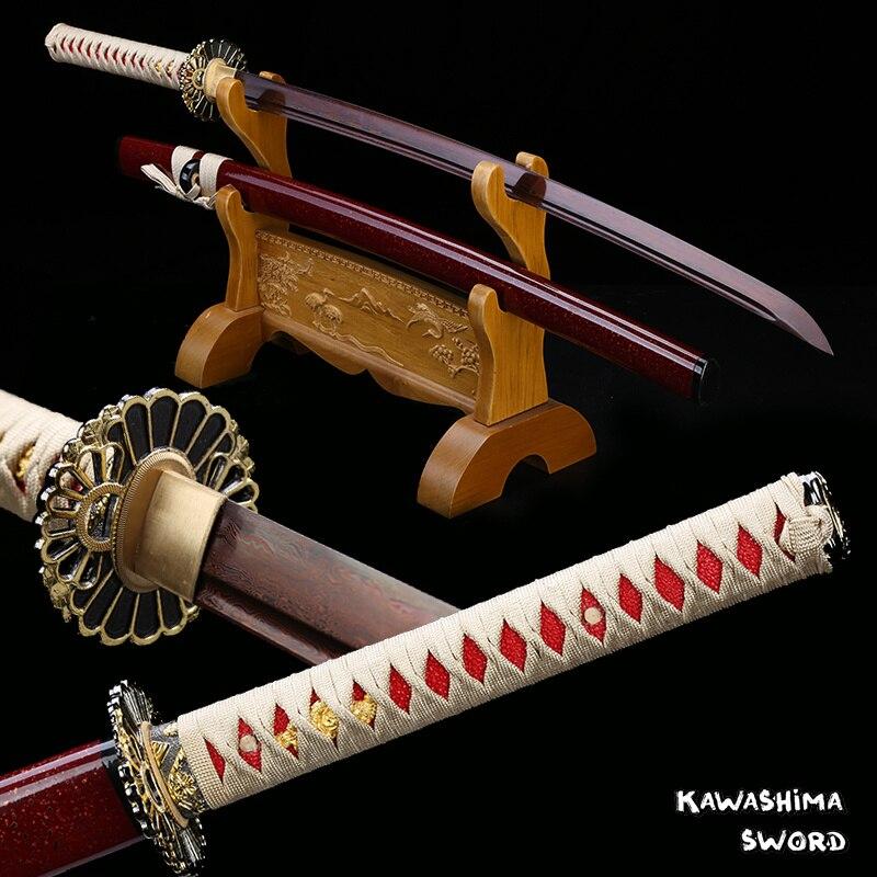 Японский кованый меч катана, дамасская сталь, с красным покрытием, бритва с острым лезвием Tang, винно-красное дерево, футляр для бритвы, Новое ...