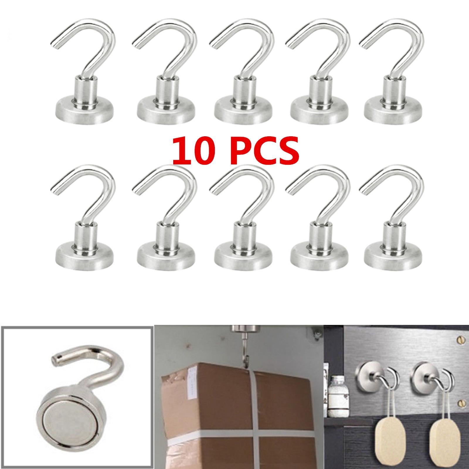 Ganchos magnéticos súper fuertes de 10 Uds., gancho para puerta de magia pared, gancho fuerte para organización de almacenamiento del hogar, soporte para ganchos Mini de alta resistencia