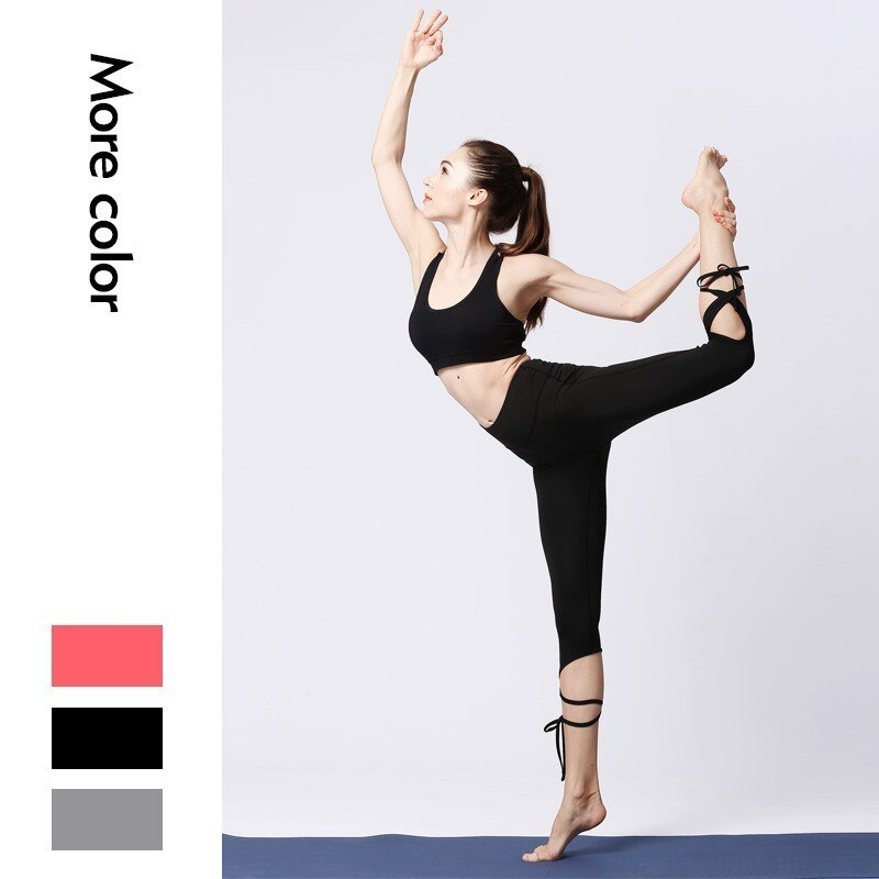 Las mujeres de cintura alta formando barriga Flex gimnasio Yoga Legging recorte corbata brazalete de Yoga Delgado pantalones Stretchyfitness gimnasio Pilates corriendo medias