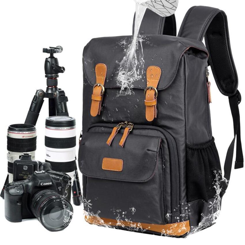 Mochila de hombro para cámara SLR bolsa Digital impermeable de lona mochila para hombre/mujer bolsa con funda para cámara