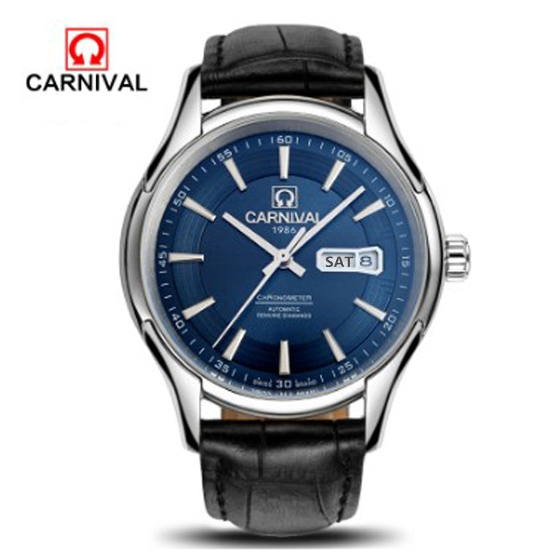 Carnival military automatic mechanical watches men's full steel waterproof vintage luxury famous brand watch leather strap reloj
