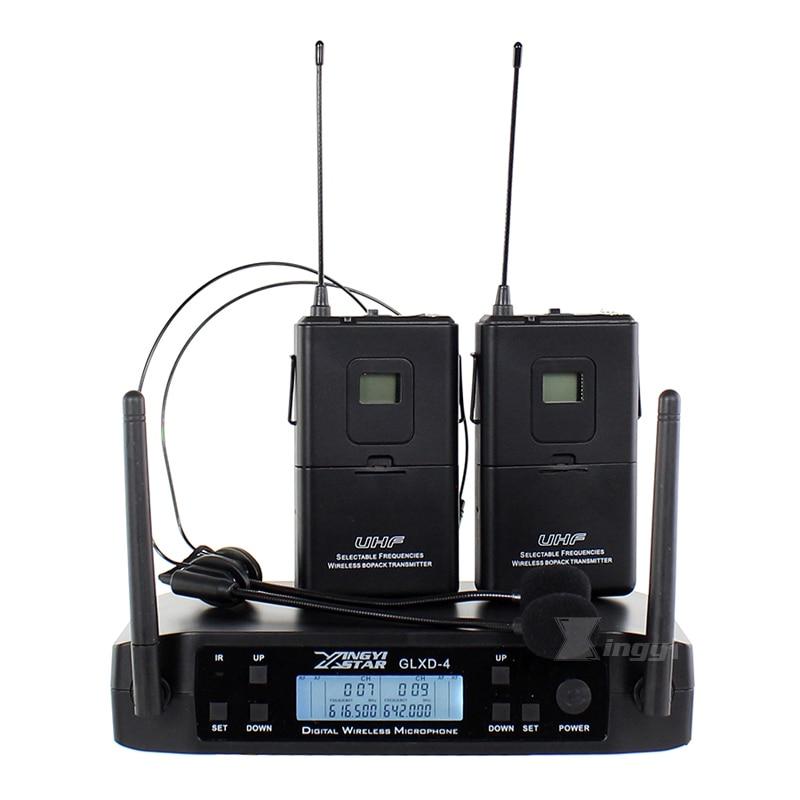 GLXD4 المهنية UHF اللاسلكية ميكروفون سماعة الرأس نظام اللاسلكي Bodypack الارسال سماعة الرأس ميكروفون ل آلة صوت دي جي الصوت كاريوكي