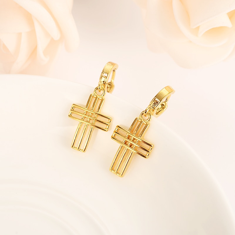 Pendiente de gota de Cruz pequeña precioso Jesús cristiano oro Dubai árabe africano joyería del Medio Oriente para las mujeres mamá niños regalos