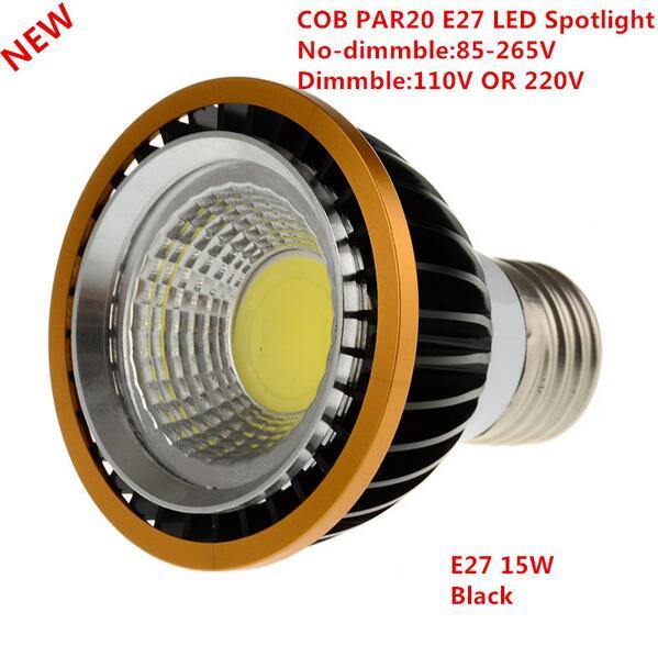 Más de 15 W COB regulable PAR20 LED Spot bombilla de luz de la lámpara de E27 blanco cálido/blanco frío/blanco la igualdad de lámpara halógena de 60 W