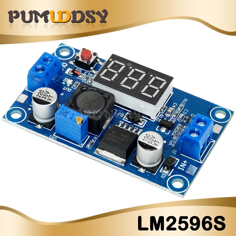1 pieza LM2596S a 1,3-37V LED voltímetro Buck Step-down módulo convertidor de potencia LM2596 oferta