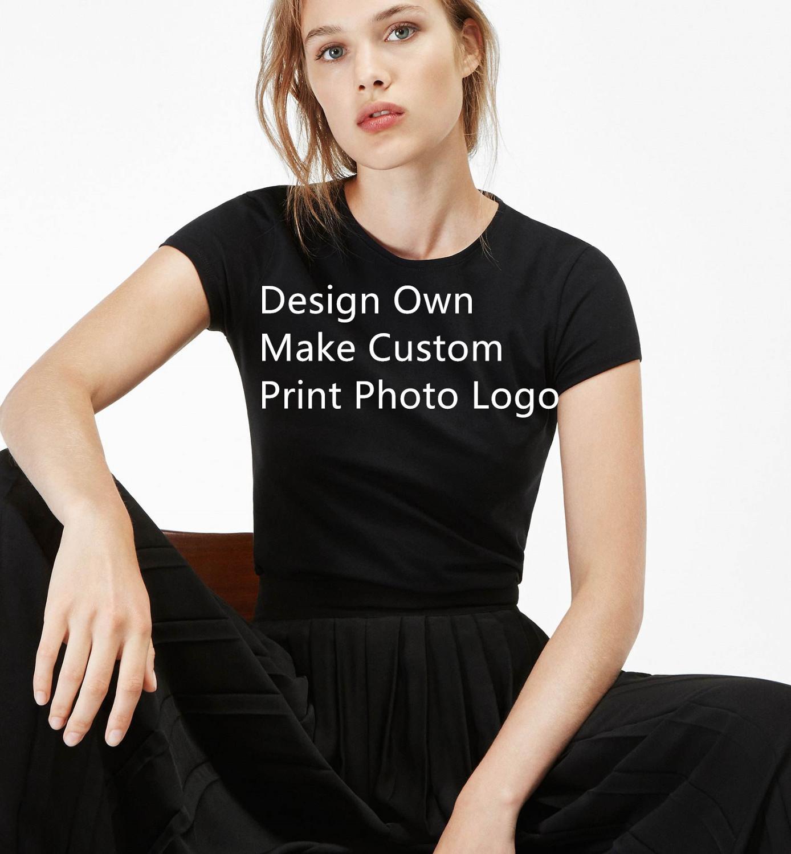 2019 verano Camisetas de colores mezclados para mujer, pantalón corto Casual de manga corta, camisetas, camisetas de diseño propio, camiseta personalizada con impresión de logotipo de la foto para