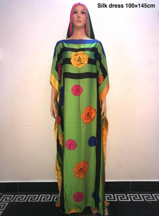 Sweet European printed silk younger girls silk dress 2019 Fashion Turkey Style women long dress African dress for women