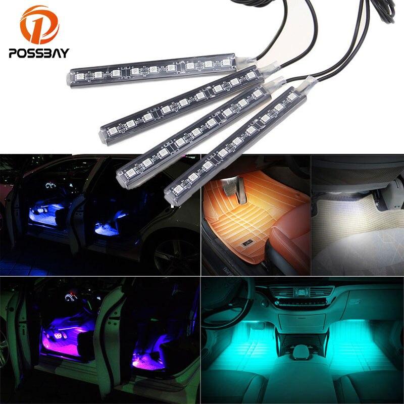 Possbay 4 em 1 carro auto carga interior led atmosfera luzes 9 led decoração piso pé lâmpada tira estilo do carro azul/branco/rosa