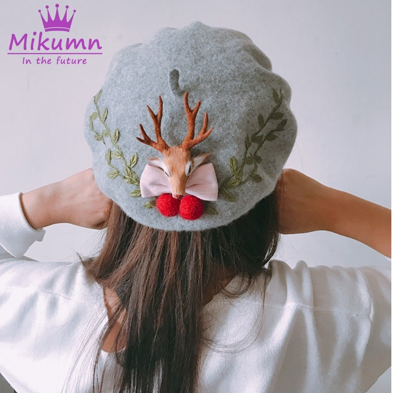 Японский стиль Mori Girl Lolita Kawaii, милый шерстяной беретик с бантом для женщин, зимняя шапка, теплый беретик, шапки Boina Feminina