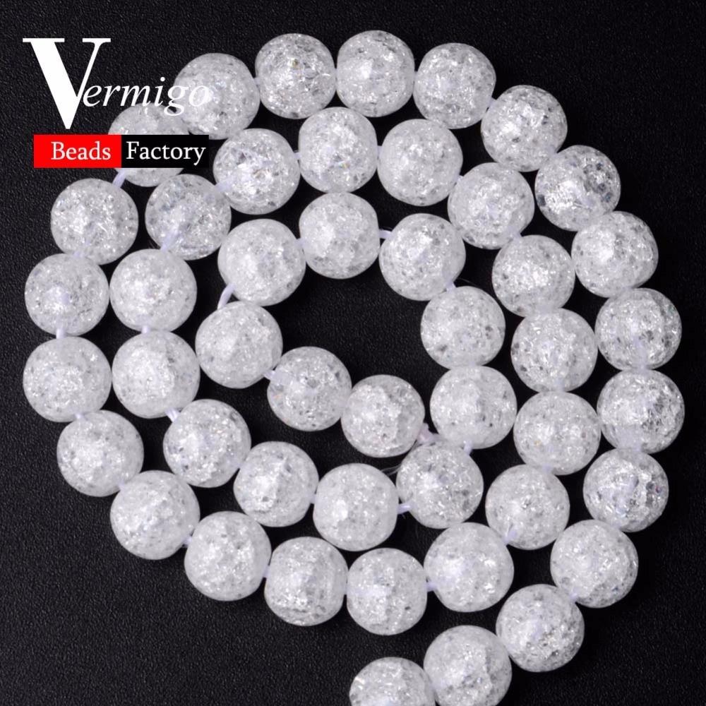 Cuentas redondas de cristal agrietadas con nieve blanca Natural A + para hacer joyas de abalorios, pulsera Diy de 6/8/10/12mm, collar, accesorios de perlas