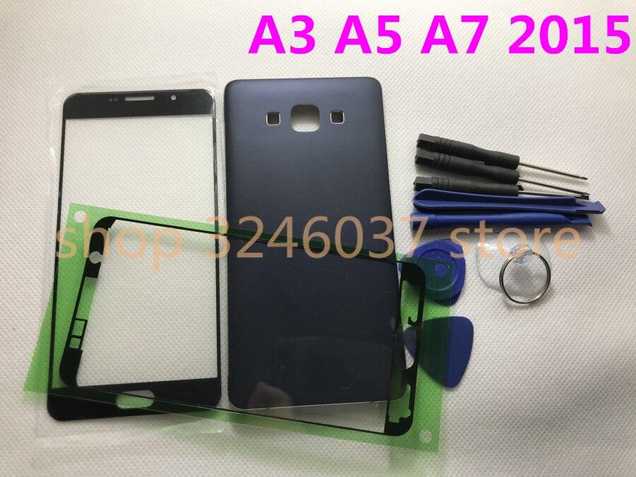 Cubierta trasera de la batería de cobertura completa + cubierta del marco medio + Lente de Cristal frontal para Samsung Galaxy A3 A300 A5 A500 A7 A700 A700F 2015