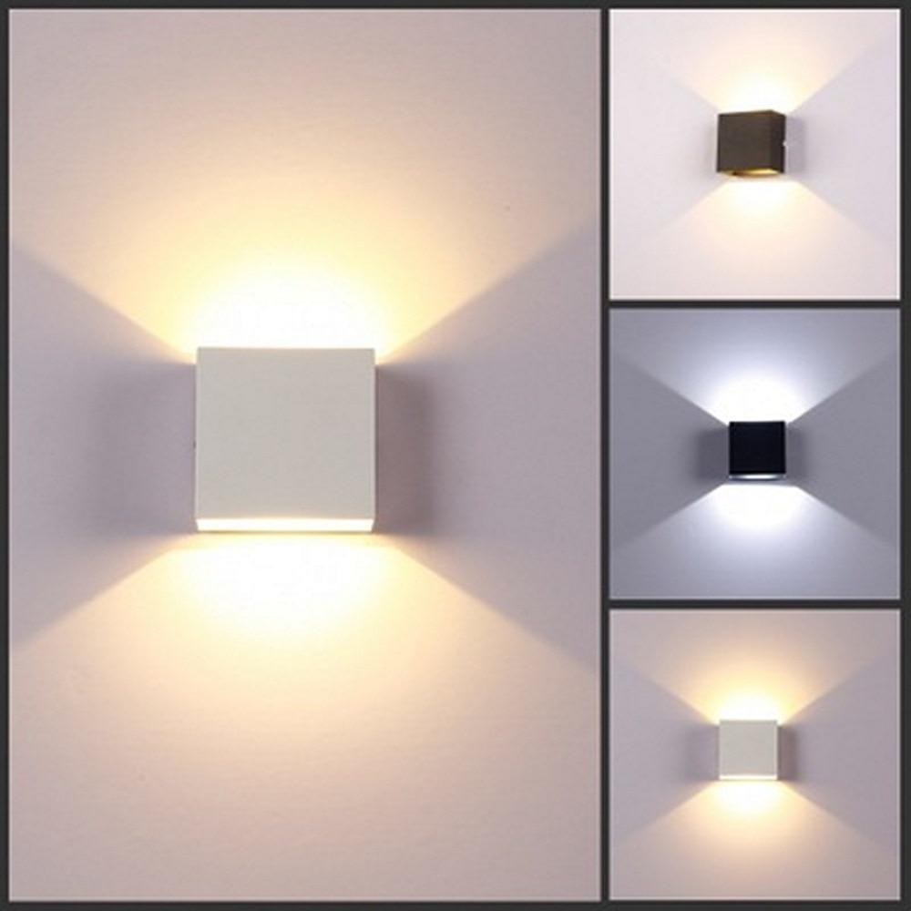 Luminária led moderna de parede de 6w, lâmpada led, luz de parede em alumínio, projeto quadrado, lâmpada de parede para quarto lâmpadas de parede artes