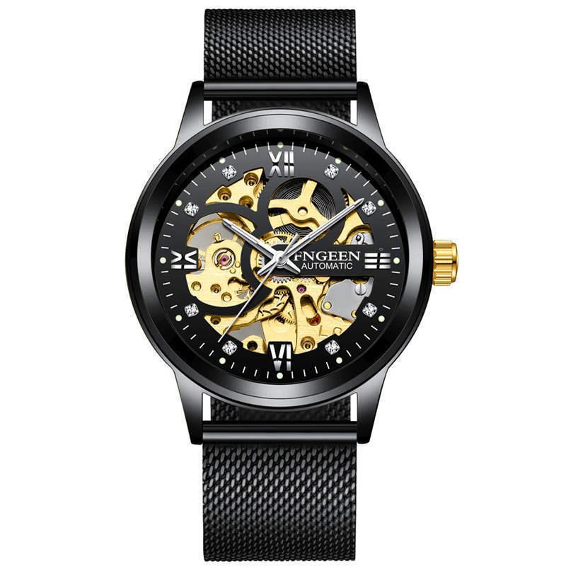 Relojes FNGEEN T821 para hombre, de marca superior, reloj automático de lujo, relojes mecánicos para hombre, resistente al agua, reloj de pulsera luminoso de cristal reforzado