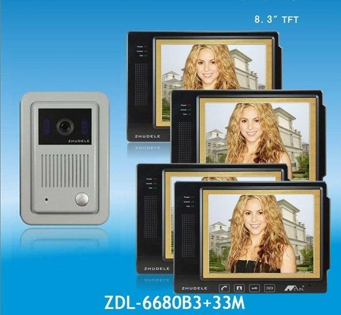 """ZHUDELE 4-cables 8,3 """"de color de lujo del teléfono video de la puerta con la llave de contacto pantalla cámara CCD impermeable visión Nocturna funciones 1 V4"""