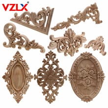 VZLX Unique Natural Floral Wood Carved Wooden Figurines Crafts Corner Appliques Frame Wall Door Furniture Woodcarving Decorative