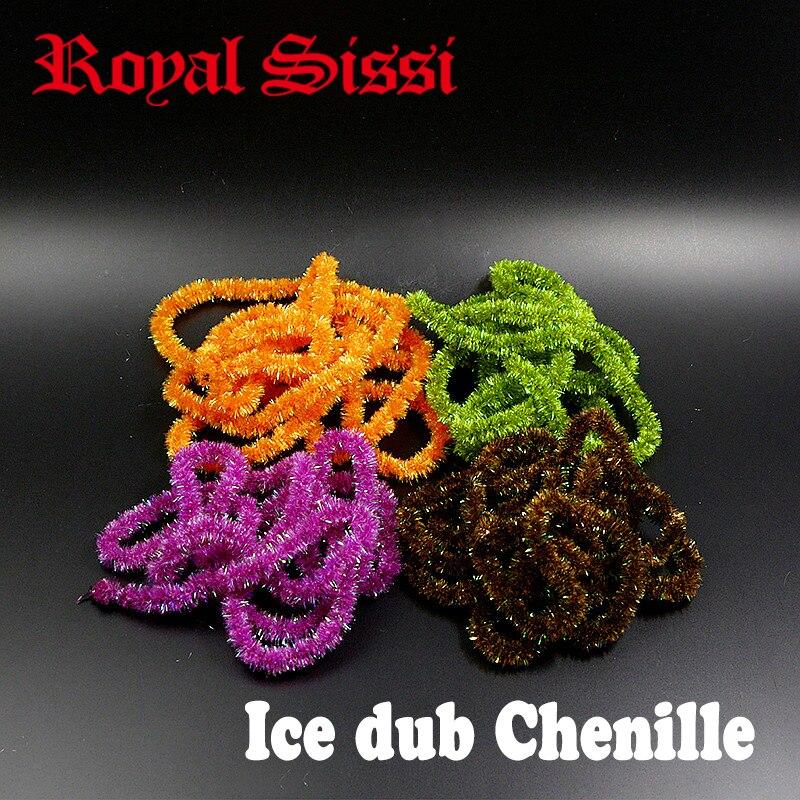 10yards medium diameter ice dub chenille yarn 5colors assorte fly tying sparkle antron yarn for fly fishing large streamer flies