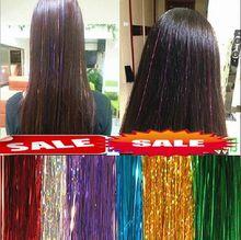 Perruque en fiber de cheveux colorée COS   Perruque de cheveux, scintillante métallique, fiber Laser, accessoires dextension de cheveux, perruque de scène, fournitures festives de fête