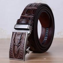 Genuine Leather Automatic Buckle Men Designer Alligator Belt Cowskin Male Crocodile Leather Belts Cinturones Hombre ZLB042