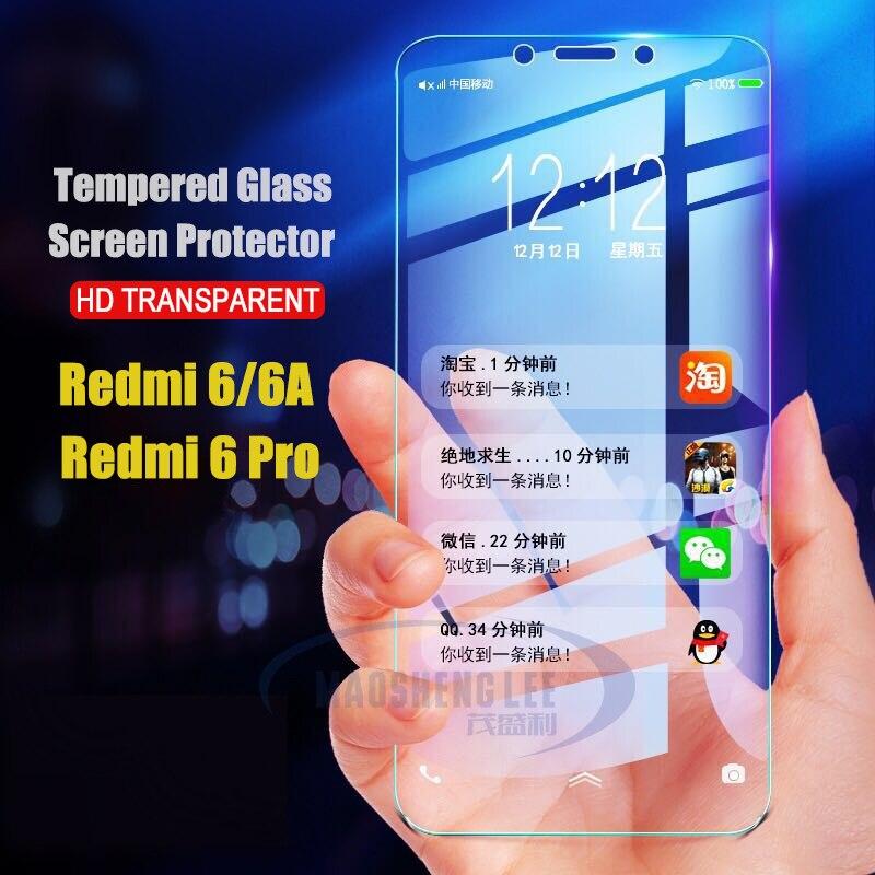 2 unids/lote de vidrio templado para Xiaomi Redmi 6 6A Pro Xiaomi pocofone F1 Protector de pantalla Anti Blu-ray Glass para Xiaomi F1