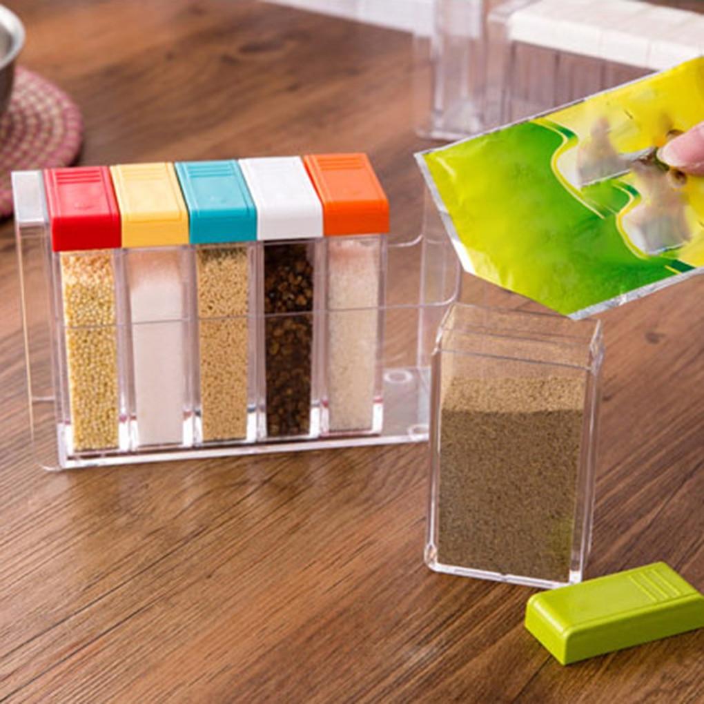 6 Pçs/set Garrafa Caixa de Tempero Tempero Condimento Recipiente De Armazenamento de Plástico Transparente Frascos Potes
