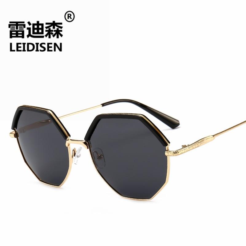 LEIDISEN Polígono Óculos Mulheres Homens Marca Designer Eyewear Óculos de Sol Do Ouro Do Vintage Preto Óculos de Sol Casal Sexy Pequeno Máscaras