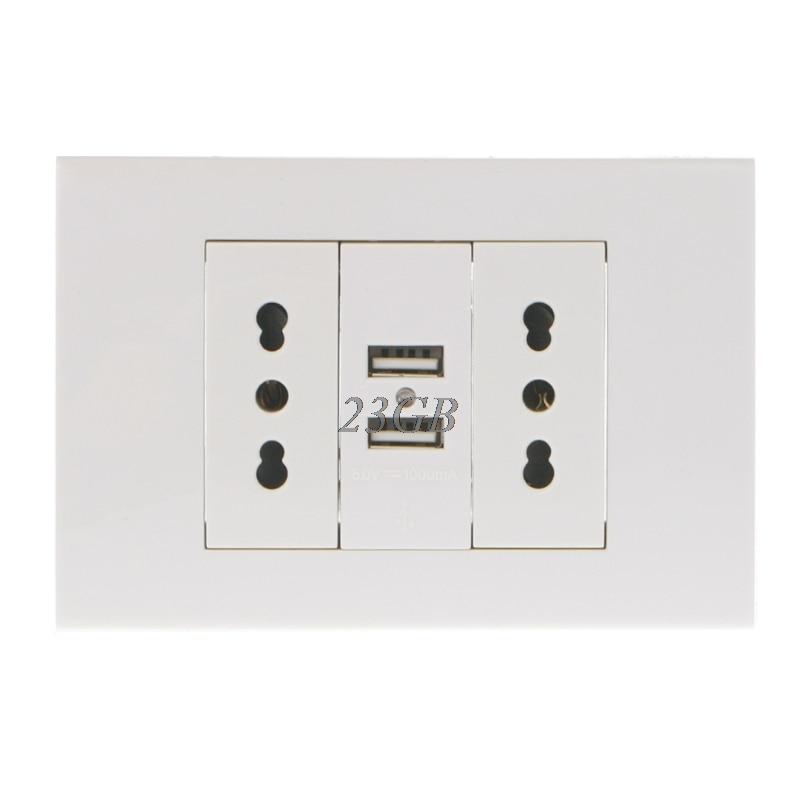 Adaptador de enchufe de pared doble italiano/Chile 16A, Panel de puertos USB duales 5V 1A F28