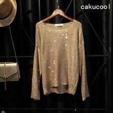Cakucool chaud étincelle hauts en tricot femmes chandails à paillettes à manches longues grand o-cou décontracté lâche embellir pulls Top dame 6 couleurs
