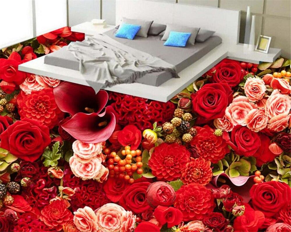 Papel pintado personalizado de alta definición sala de estar de mar Rosa 3D suelo autoadhesivo suelo impermeable 3d papel pintado