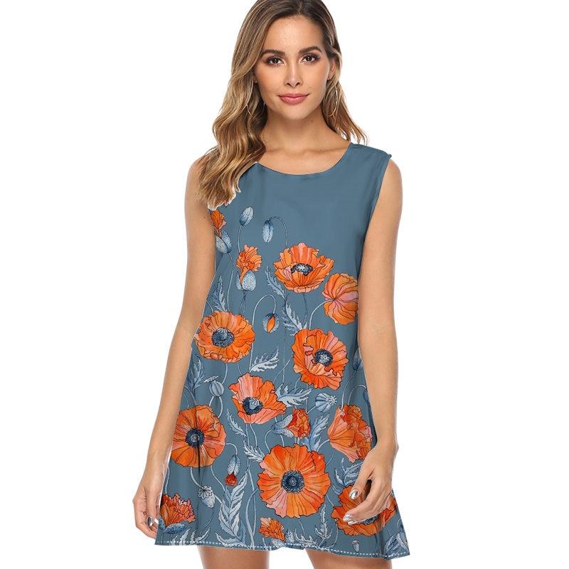 Poppies Floral Botanical art Print Dress Women Fashion Sleeveless Casual Loose Summer Dress A-line Party Dress vestidos mujer