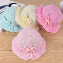 New Children Summer Panama Hollow Caps Baby Girls Fisherman Hat Kids Girls Bowknot Pearl Hat Fashion Baby Bucket Sun Hat Floral