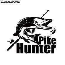 Langru-autocollant de personnalité   Autocollant de voiture de pêche Pike chasseur I carpe équipage mouche, autocollants en vinyle pour graphiques, accessoires de voiture Jdm