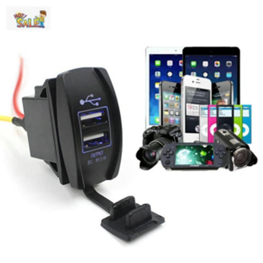Car charger 12V 24V Car Auto Boat Accessory Dual USB Charger Power Adapter LED Outlet d2