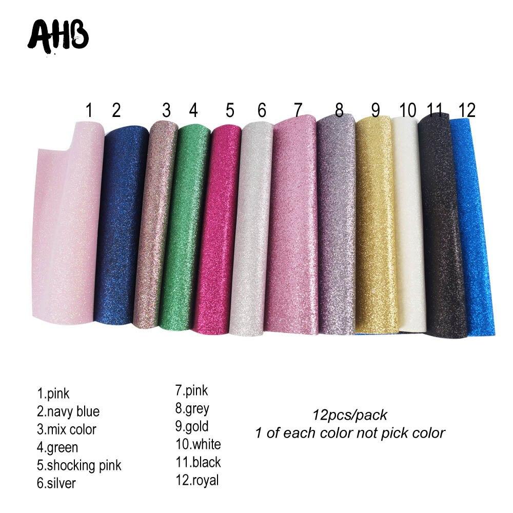 AHB 12 unids/bolsa de tela de cuero brillante de imitación tela de cuero para hacer lazos hecho a mano papel pintado funda de teléfono materiales de decoración