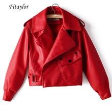 Fitaylor nouveau automne femmes veste en simili cuir Pu moto Biker rouge manteau col rabattu lâche Streetwear noir Punk vêtements dextérieur
