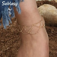 seblasy punk 2 color hollow wave chain tassel anklets bracelets for women hot sale foot jewelry night club barefoot gifts femme