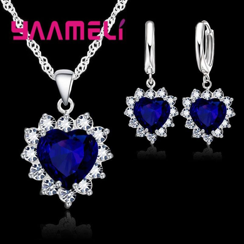 Trendy 925 Sterling Silver Jewelry Set for Women Heart CZ Stone Charm Pendants Necklaces Earrings LO