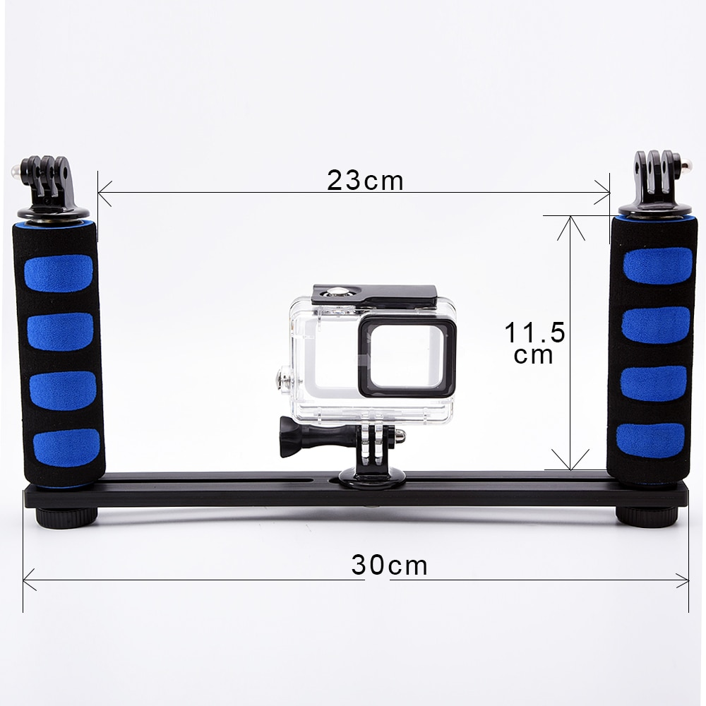 Bandeja de aluminio de dos manos para la carcasa de la Cámara subacuática para Sony Action Cam HDR AS15 AS20 AS200V AS30V AS100V AZ1 mini FDR-X1000V
