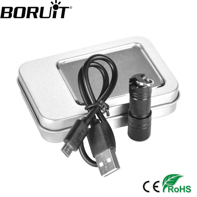 Aluminio super mini xpe linterna led antorcha recargable usb lampe torche camping linternas llavero con caja de regalo