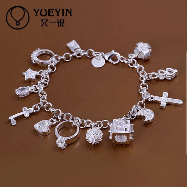 Pulsera de joyería chapada en plata para mujer, moda 13, pulsera con abalorio colgante, calidad superior, venta al por mayor y al por menor SMTH144