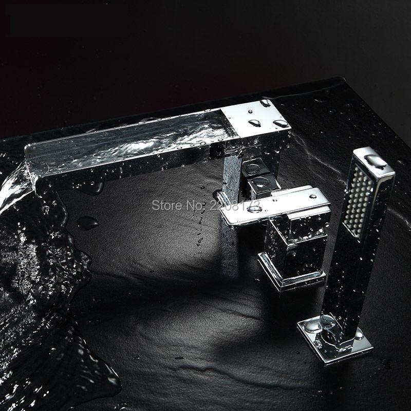 صنبور حوض استحمام 3 فتحات مع دش يدوي من الكروم المصقول ، شلال نحاسي معاصر عالي الجودة ، ضمان 5 سنوات ، 100%