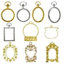 5pcs/lot Decorative pattern princessshapeResin OpenBezelMetalCharm Pendant Key Frame Pendant UV Resin Earring Findings DIY