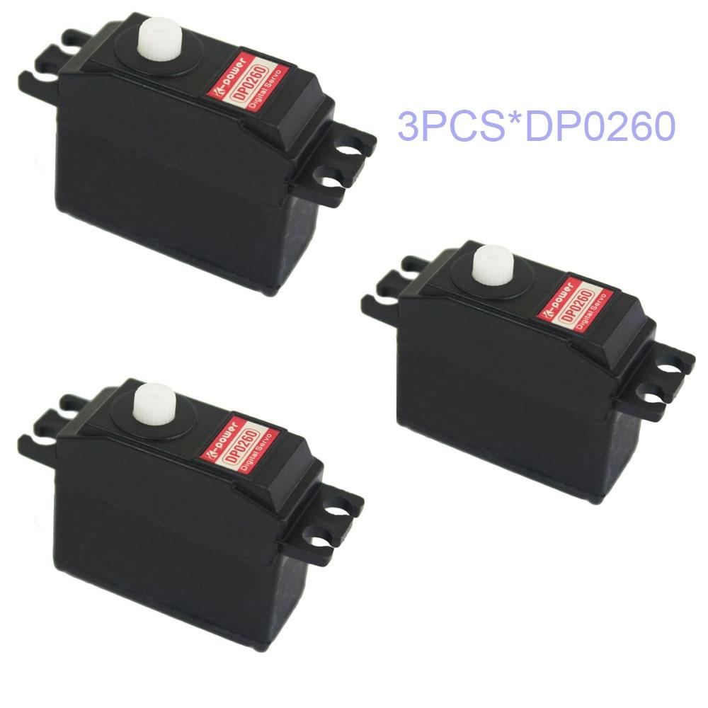 3 uds K-de DP0260 3,5 KG Digital engranaje de plástico DC Motor Micro Mini 26g RC Servo para la planta del barco del coche heli