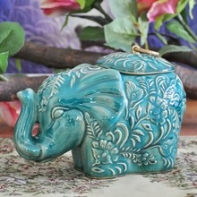 Classical Ceramics Elephant Statue Storage Jar Decorative Household Porcelain Organizer Canister Ornament Craft Accessories