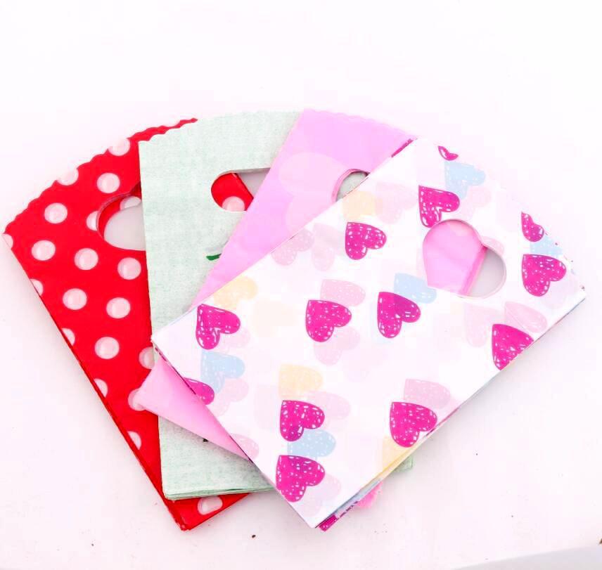 100 Uds moda 4 colores puntos y corazón gracias bolsas de plástico bolsa de regalo 9X15cm bolsas de joyería GB071