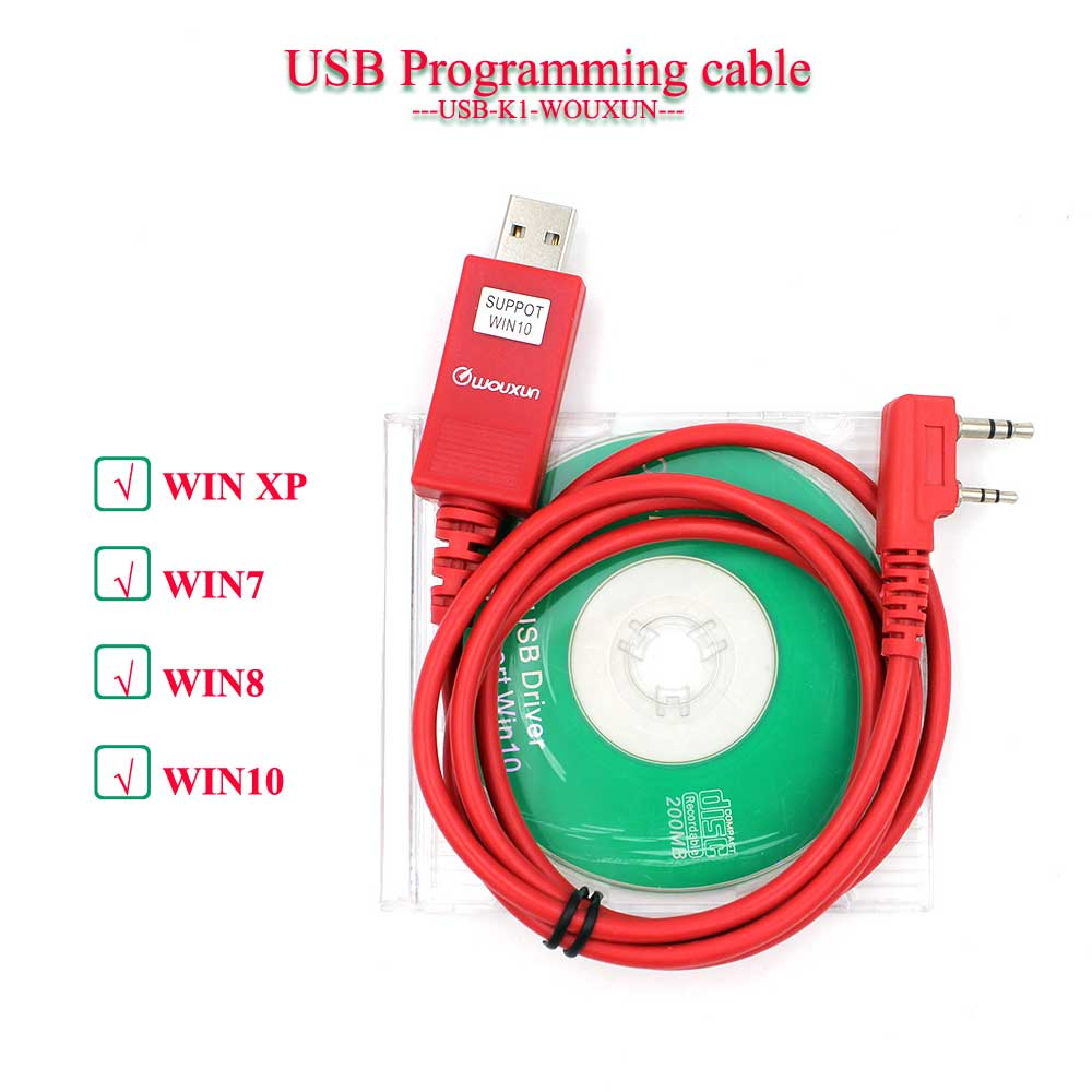 Original Walkie Talkie WOUXUN KG-UVD1P KG-UV6D KG-UV8D KG-UV899 KG-UV9D más Cable de programación USB + programación CD de Software